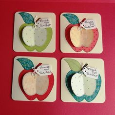 Thank You Teacher Apple Cards   Set of 4 by pollypurplehorse,
