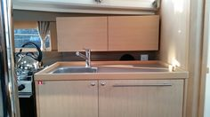 The galley of the new Beneteau Oceanis 35 during our recent interior review in Annapolis, MD.
