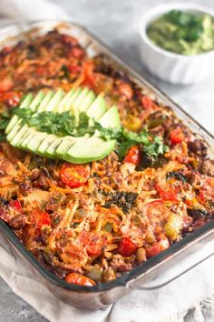 *for SCD use butternut squash noodles. // Your taco favorites combined into one healthy and comforting beef taco casserole! Great for a satisfying meal, meal prep, and paleo and approved!