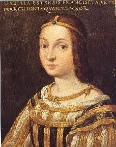 Isabella d'Este was Marchesa of Mantua and one of the leading women of the Italian Renaissance as a major cultural and political figure. She was a patron of the arts as well as a leader of fashion, whose innovative style of dressing was copied by women throughout Italy and at the French court. In addition to playing music, she collected art, and sponsored philosophers, poets, and painters, such as Titian, Raphael, Giovanni Bellini, and Leonardo da Vinci.