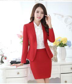 Profesional del otoño traje de negocios para mujer más tamaño falda trajes del trabajo del OL delgado para mujer de la oficina chaqueta de manga larga con faldas en Trajes con Falda de Moda y Complementos Mujer en AliExpress.com | Alibaba Group