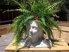 Lady of the Garden Head Planter by JCNScuptures on Etsy