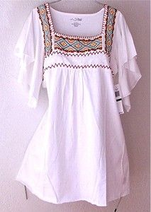 White Embroidered Bohemian Boho Peasant Blouse