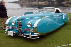 1949 Delahaye Type 175.The body features fully skirted fenders, a disappearing top, and extensive chrome accenting. This car is considered one of the most extreme uses of Baroque automotive styling.