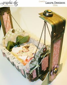 Altered cradle by Laura using Little Darlings! How gorgeous #graphic45