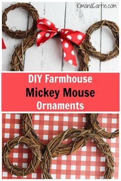 Farmhouse Mickey Mouse Wreath Ornament - Kim and Carrie - - Add Disney farmhouse decor to your home this Christmas with these rustic DIY Mickey Mouse wreath ornaments (and Minnie Mouse, too)! Super easy to make! Mickey Mouse Ornaments, Mickey Mouse Wreath, Mickey Mouse Crafts, Minnie Mouse, Mickey Mouse Christmas, Disney Christmas, Christmas Crafts, Christmas Decorations, Christmas Tree
