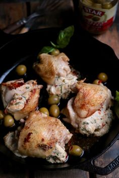 Hot Pepper Olive Stuffed Chicken Thighs - www.countrycleaver.com