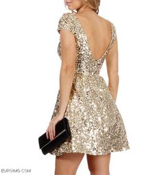 sequin dress gold | Gold Sequin Prom Dress 2014
