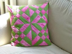 Patchwork pillow  in fresh colors by MagdalenasQuiltShop on Etsy, $20.00