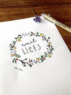 Veel liefs // Ontwerp ellesanne.nl #love #lotoflove #handlettering #micron #krans #wreath #aquarel #kaartje #pen #penart #kalligrafie #calligraphy #micronpen #lettering #card #kaarten