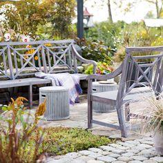 Teak Fretwork Three Seat Garden Bench   Terrain