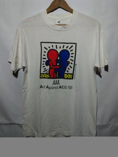 Vintage distressed 90s Keith Haring t shirt Act Against Aids '93