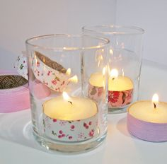 Tea light holders decorated with washi tape - an inexpensive way to add color to a themed party