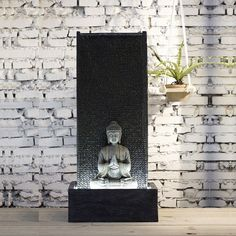 Outdoor Wall Fountains, Indoor Water Fountains, Indoor Fountain, Fountain Ideas, Water Fountain For Home, Bamboo Water Fountain, Buddha Statue Home, Buddha Home Decor, Design Jardin