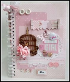 67 Ideas For Diy Baby Book Pages Tutorials Mini Album Scrapbook, Scrapbook Bebe, Scrapbook Cover, Decoupage Vintage, Vintage Crafts, Baby Book Pages, Diy Paper, Paper Crafts, Mini Album Tutorial