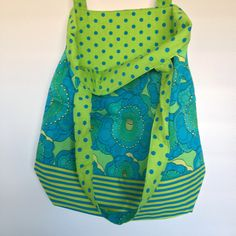 Green and Blue Flowers with Striped Trim and Polka Dot Lining Dotted Line, Shopping Bags, Fabulous Fabrics, Vera Bradley Backpack, Blue Flowers, Polka Dots, Sewing, Pretty, Green