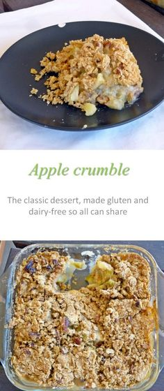 Cinnamon and oats in the crumble topping, yummy apple slices - awesome apple crumble topped with cream!