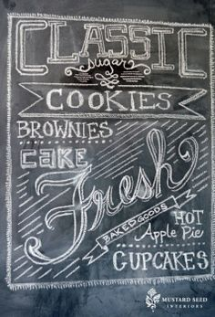kitchen chalkboard art by Blackboard Art, Chalkboard Fonts, Chalkboard Writing, Kitchen Chalkboard, Sign Writing, Chalkboard Paint, Chalkboard Ideas, Chalk Wall, Chalk Board
