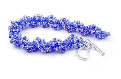 Custom Sized Sapphire Blue Beaded Spiral Bracelet with
