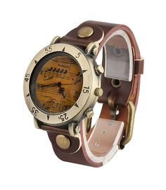 ShoppeWatch Mens Watch Brown Dial Music Symbols Leather Band Reloj Hombre SW568-1DKBR >>> Click on the image for additional details.