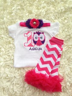 Hot pink chevron and grape owl birthday outfit  1st by CEBowtique, $28.50
