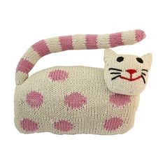 This soft, hand knitted kitten is the perfect gift for any little girl.