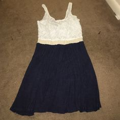 Navy blue and white dress Small dress with white lace on top & navy blue on bottom Wet Seal Dresses