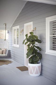 Stormy Shadow Taubmans Exterior Colour - Three Birds Renovations - House 5 - The Stylist Splash Grey Exterior, Exterior Cladding, House Paint Exterior, Exterior Paint Colors, Paint Colors For Home, Paint Colours, Wall Exterior, Wall Cladding, Exterior House Colour Schemes