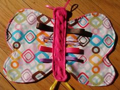 Items similar to Pink Butterfly Taggie Blanket With Crinkle Wings on Etsy Sensory Blanket, Baby Sensory, Sensory Toys, Sewing Projects For Kids, Sewing For Kids, Sewing Ideas, Tag Blankets For Babies, Baby Blankets, Dou Dou