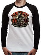 Officially licensed Sons Of Anarchy Baseball Shirt design printed on a White 100% cotton Baseball Shirt.