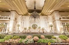 The elegant wedding stage at Kempinski Hotel Jakarta. Decoration by Lotus Design and lighting by Lightworks