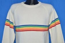 vintage 80s PROGRESSIONS WHITE RAINBOW STRIPE SKI SKIING ACRYLIC SWEATER MEDIUM