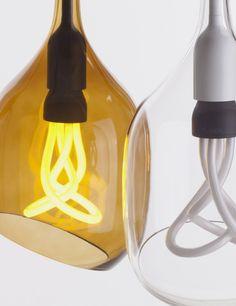 Vessel 2 Lamp Shade - Diagonal Cut - Bronze Glass with Plumen 001 Bulb
