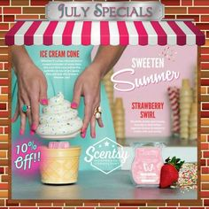 Hello July! With a new month comes a new warmer and scent! Ice Cream Cone and Stawberry Swirl! Get yours today!  www.angelawright.scentsy.ca
