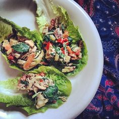 sautéed veggies mixed with hummus wrapped in lettuce.