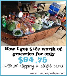 Cool method for getting your groceries for (much) less, WITHOUT clipping any coupons (and it's all healthy food, too). So easy, why didn't I think of that? from www.funcheaporfree.com #food #funcheaporfree
