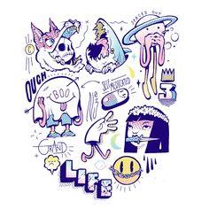 drawing on creativity t-shirt / sticker pack design for rail clothing - Digital Illustration, Graphic Illustration, Posca Art, Graffiti Characters, Tattoo Flash Art, Arte Popular, Design Reference, Illustrations, Sticker Design