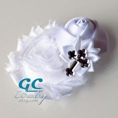Bright White Cross Shabby Flower Hair Accessory  Wedding by GCBaby, $7.99
