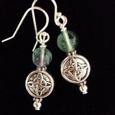 🎉Host Pick🎉 Celtic Gemstone Earrings So Pretty! 🔮 Fluorite Gemstones With Antique Silver Celtic Symbols! Sterling Silver Earwires ⭐️ NOTE Color of Gemstones may vary between, purple, green, blue DesignsbyKaren Jewelry Earrings