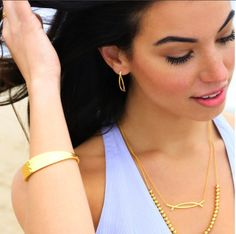 Enjoying the Summer Breeze in the Felix necklace & Earrings, Laguna Large necklace, and the Silas cuff. http://www.gorjana.com/jewelry.html