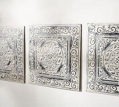living room wall? Ivory Metal Tiles, Set of 3