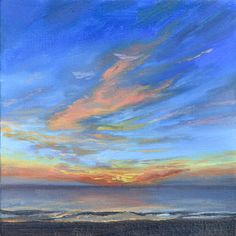 Ocean City Sunrise, 6x6 Oil by Rachel Alvarez