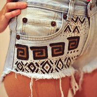 Custom tribal gold and black high waisted denim shorts from JessieJeans. Tribal Shorts, Denim Shorts, Spring Summer Fashion, Autumn Fashion, Painted Shorts, What Should I Wear Today, High Waisted Shorts, Waisted Denim, Kids Fashion