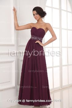 Burgundy Chiffon Sweetheart Summer Charming Evening Gown - Fannybrides.com Discount Prom Dresses, Prom Dresses 2015, Strapless Dress Formal, Formal Dresses, Evening Dresses, Burgundy, Chiffon, Girly, Beading