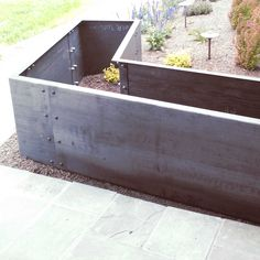 Weathering steel (corten) is a material that develops a rusty patina well suited for landscape features like steel planter boxes, fire pits, and more. Metal Planter Boxes, Corten Steel Planters, Garden Planter Boxes, Trough Planters, Planter Ideas, Melbourne Garden, Weathering Steel, Metal Fabrication, Patio Design
