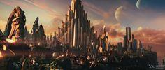 Asgard in Thor Movie Image Seattle Skyline, New York Skyline, Marvel Concept Art, Loki And Sigyn, Thor 2011, Fantastic Voyage, Marvel Photo, Marvel Films, The Dark World