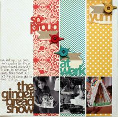 Cute layout idea. I like the long strips of paper with the photos and the bottom and the white space on the left.