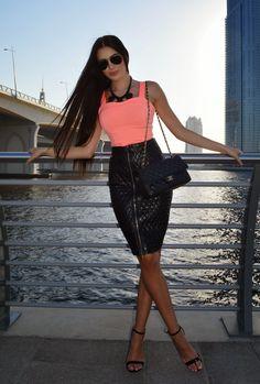 LAURA BADURA FASHION & BEAUTY: Leather + Neon