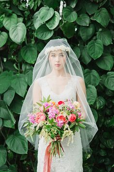 Ethereal Bridal Portraits in a Botanical Garden | Stephanie Sunderland Photography | Vibrant Summer Greenhouse Wedding Portraits in Rich Jewel Tones