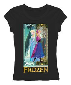 Take+a+look+at+the+Black+Frozen+Anna+&+Elsa+Foil+Tee+-+Juniors+on+#zulily+today!